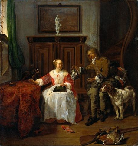 "This painting, ""The Hunter's Gift"" by Gabriel Metsu, was painted in 1658-60 and depicts a loyal Drent accompanying his master into the home."